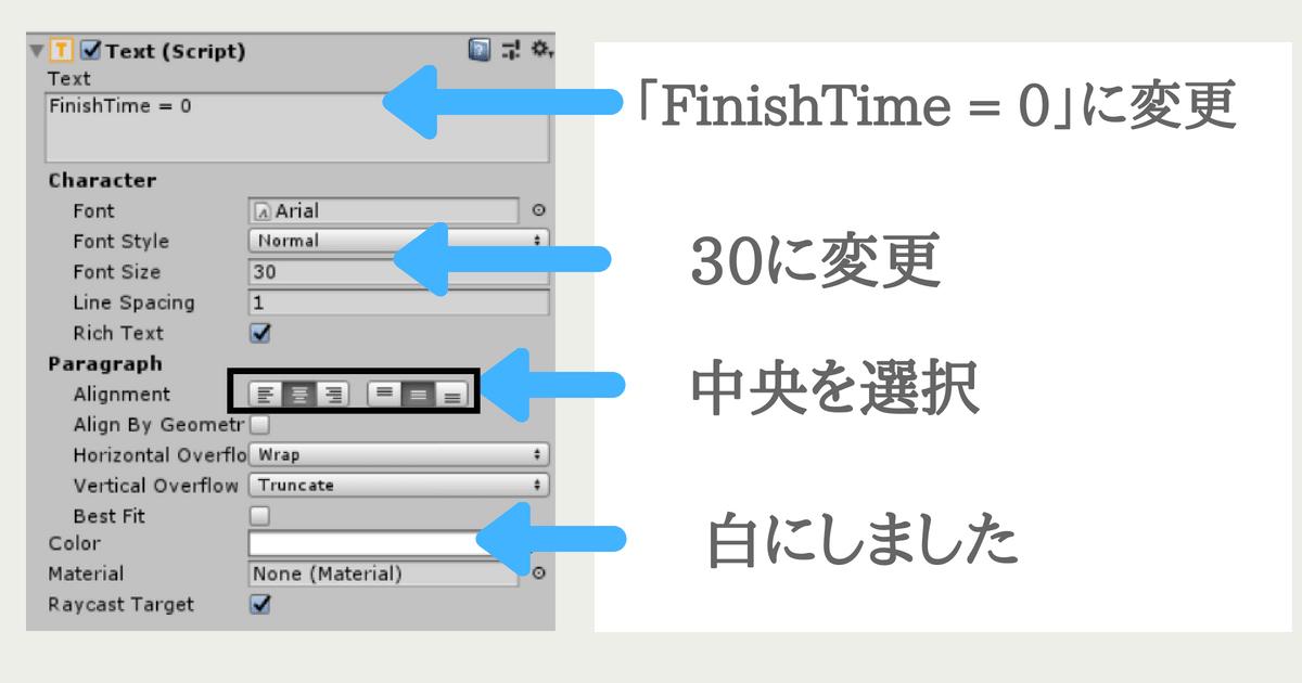 FinishTimeTextのサイズや色を変更