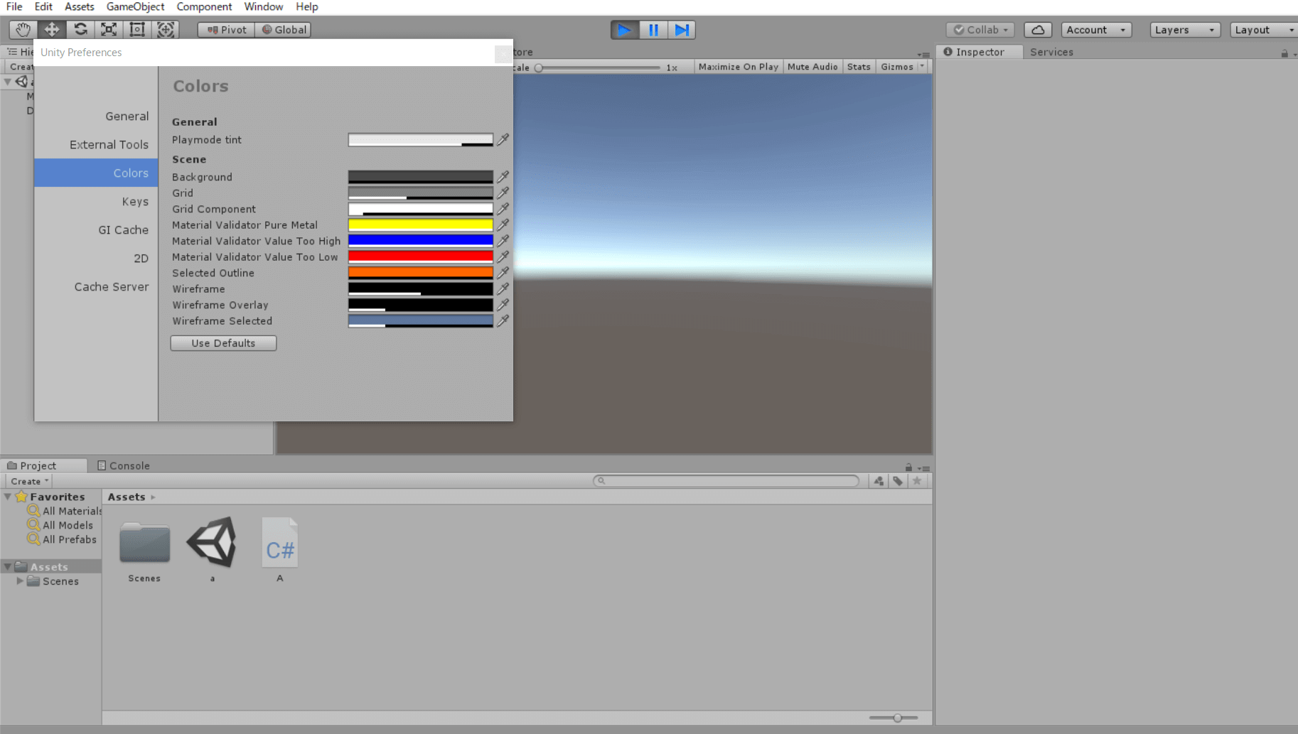 ゲーム実行時の画面の色を変更する