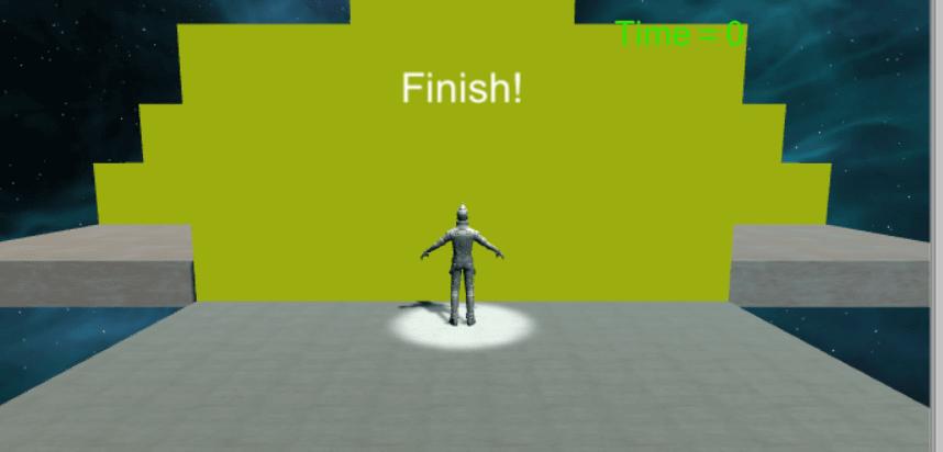 finishtime作成後のゲームビューの様子