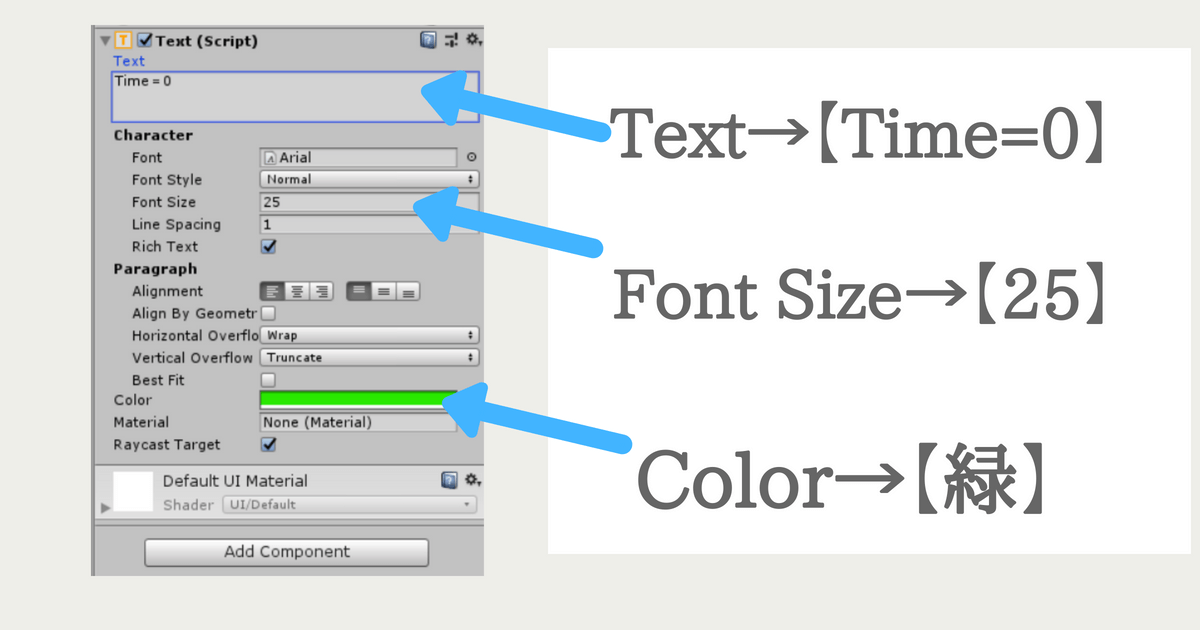 「TimeText」をカラーを設定