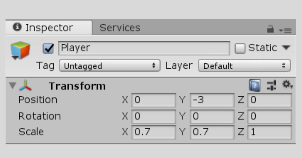 Unityで【Player】の位置、角度、大きさを変更する