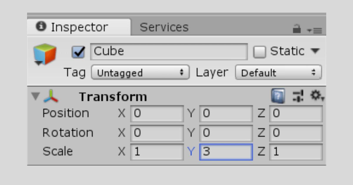 Cubeの大きさを変更する