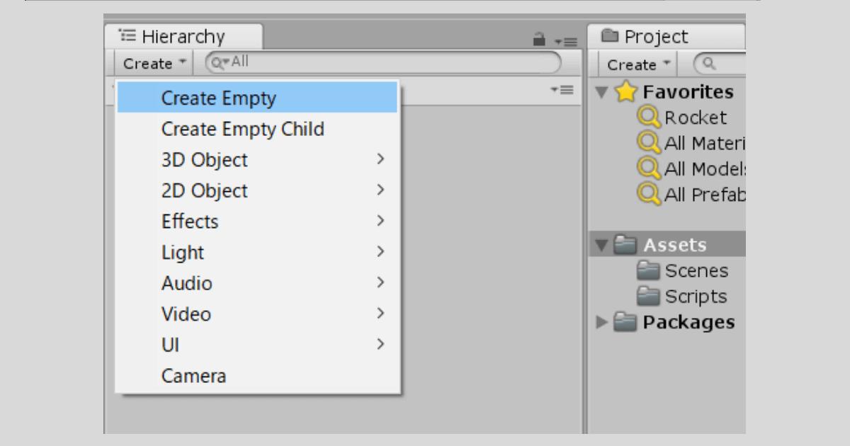 Unityで空のオブジェクトを作る