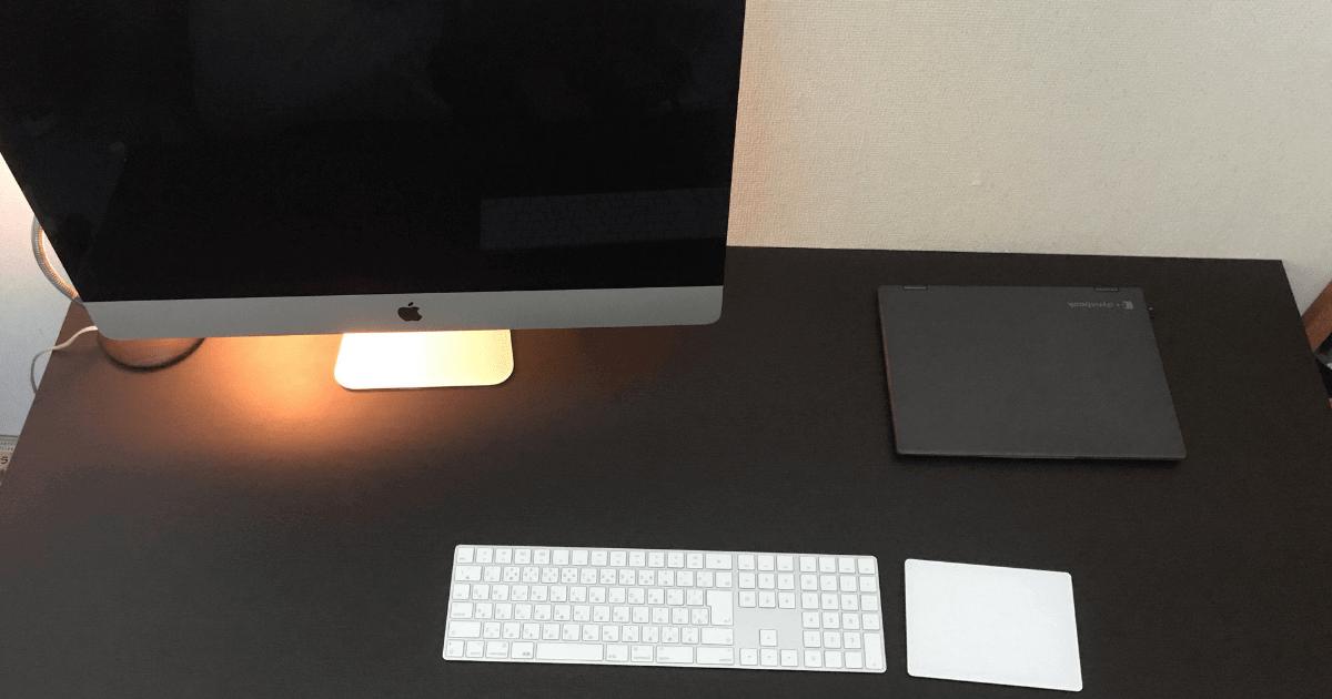 「LALA STYLEのデスク」幅140cm・奥行き70cmに2台PC