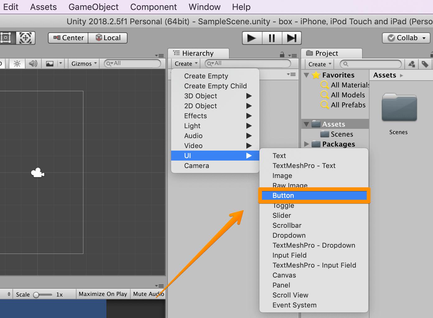 Unity Adsで使うボタンを作成する
