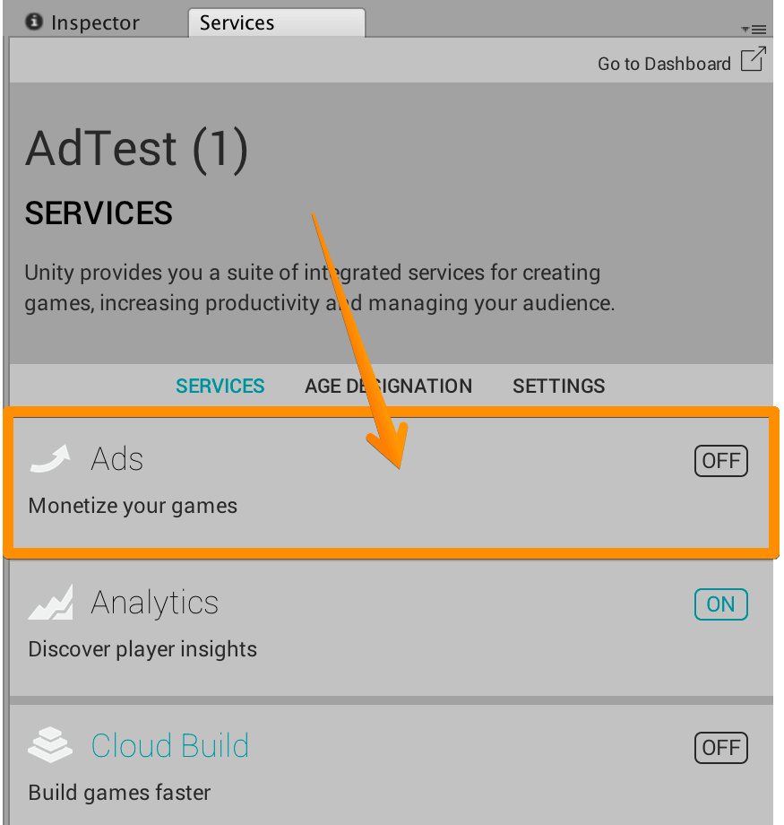 Unity Adsを押す