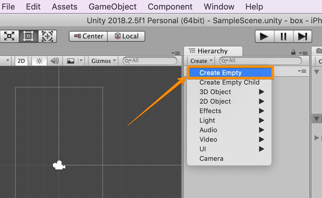 Unity Adsで使う空のオブジェクトを作成する