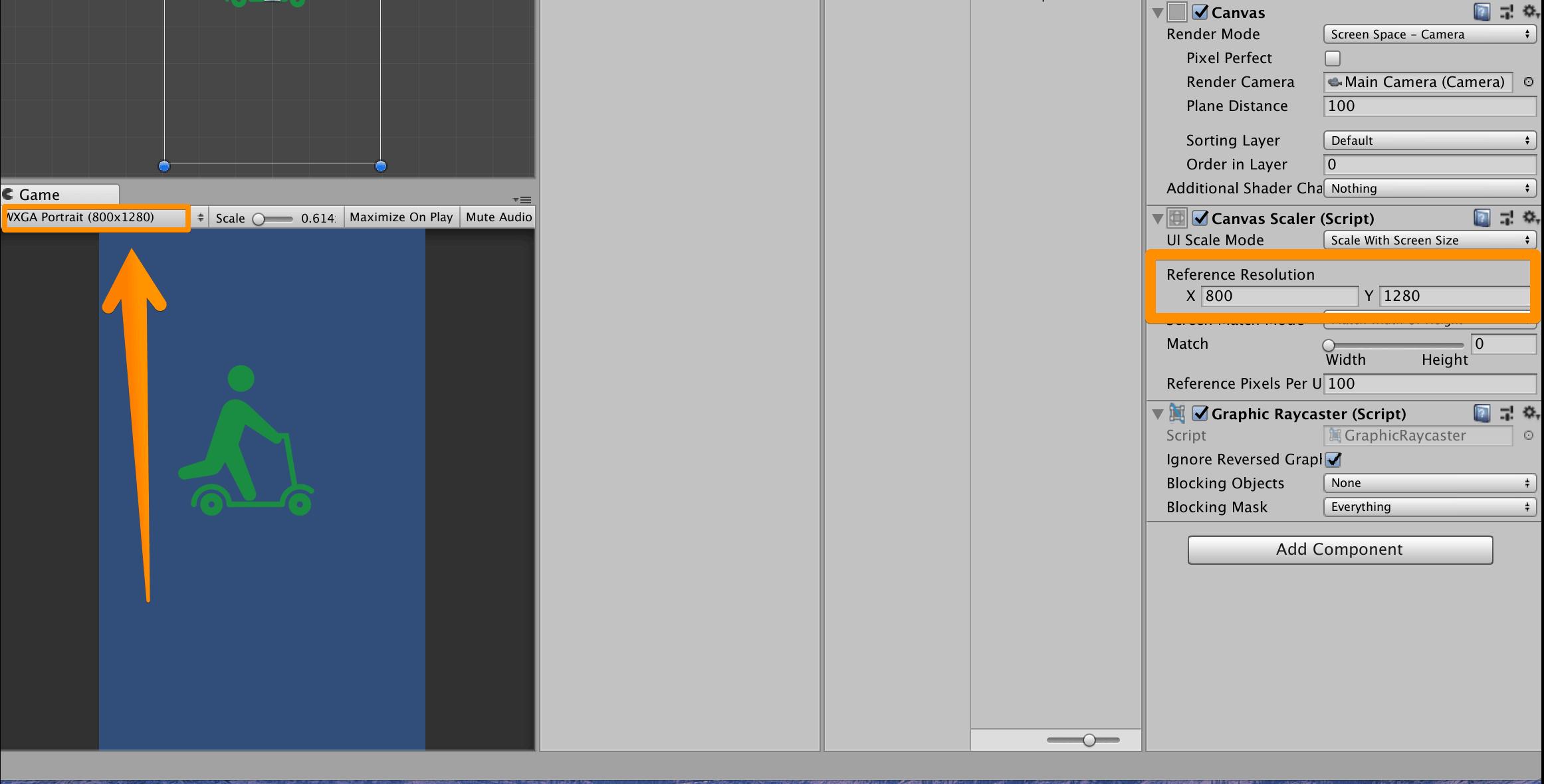 Unityで【Reference Resolution】→【Gameビューで指定した画面サイズにする】
