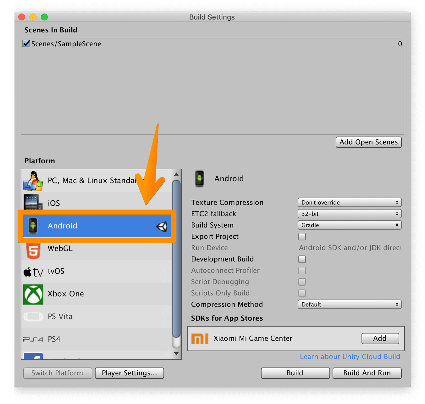 UnityでAndroidにプラットフォームを切り替えてある。