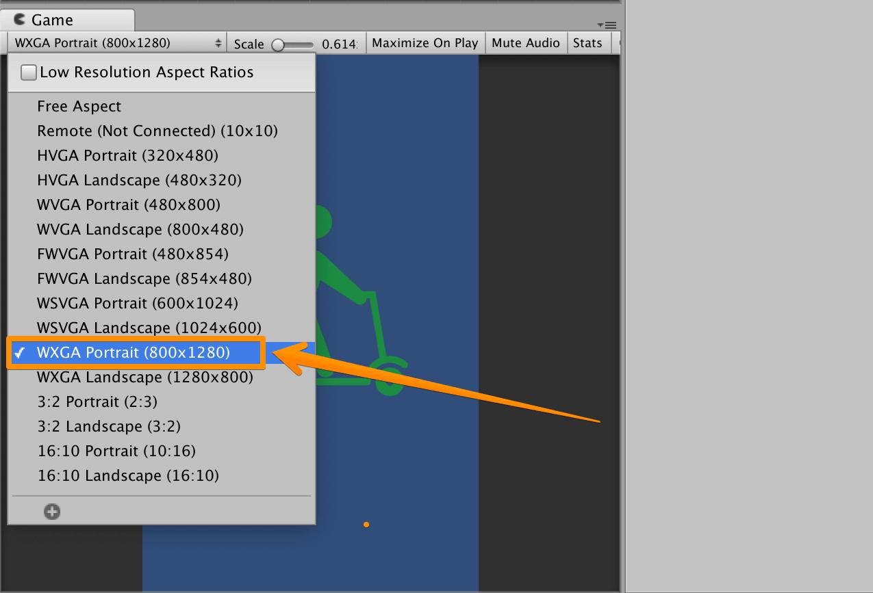 UnityでGameビューのアスペクト比が【800×1280】にしてある状態