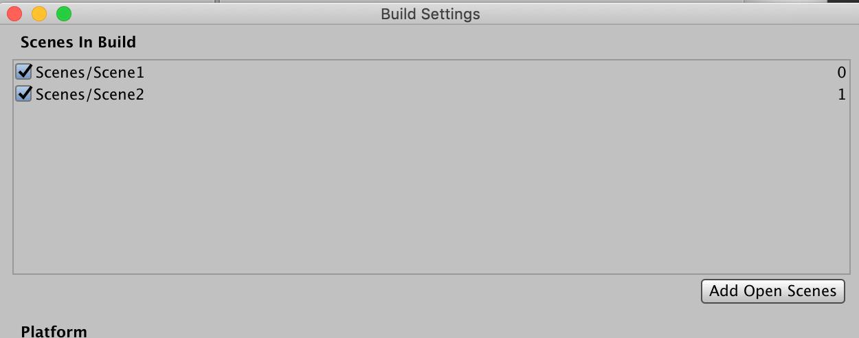 もしうまくいかない場合は【Scene in Build】にシーンを追加する