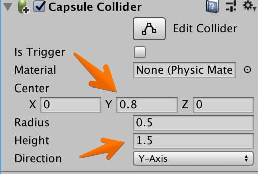 「Capsule Collider」の値を変更する
