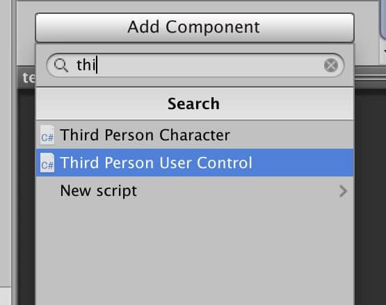 キャラにThird Person User Controlスクリプトをアタッチ
