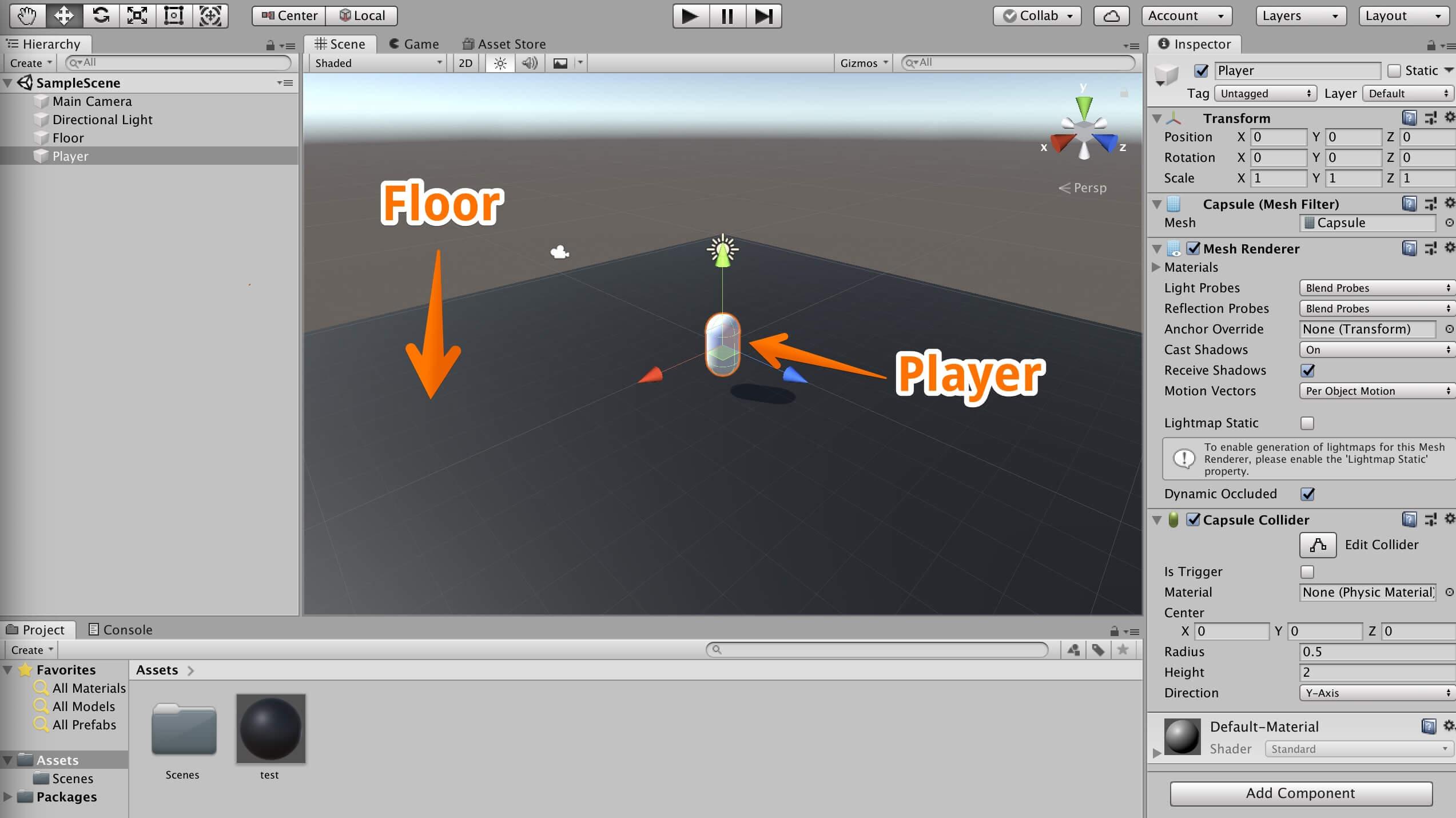 「CharacterController」を利用してオブジェクトを動かしていく